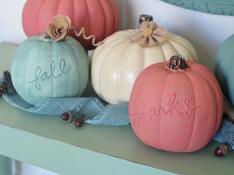 chalk painted pumpkins