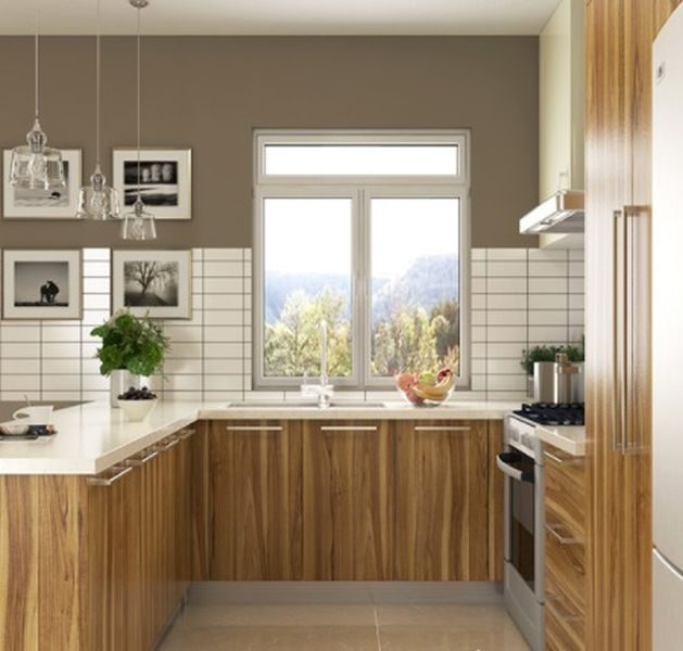 U-shaped-wood-grain-melamine-kitchen-cabinet