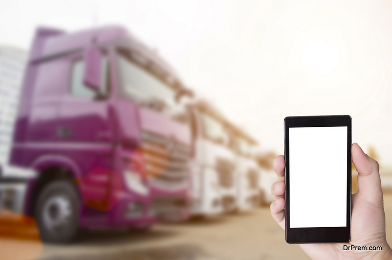 Trucker using mobile app