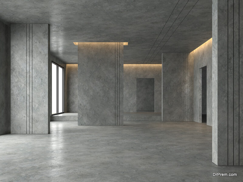 polished concrete flooring requires low  maintenance